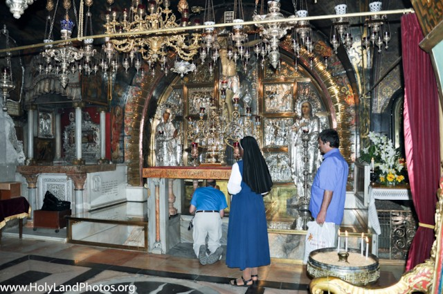 Greek Chapel With Pilgrims