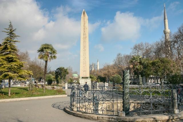 Obelisk and Serpentine Column